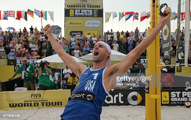 Jake Gibb of the United States celebrates a win in the gold medal match at the FIVB St Petersburg Grand Slam at Spa Beach on June 20 2015 in St...