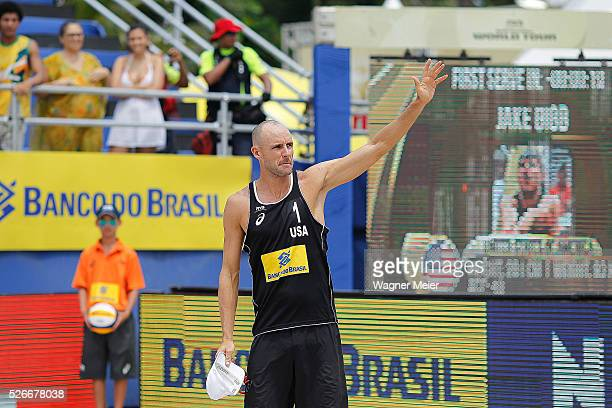 Jake Gibb of the United States in action during main draw match against Germany during the FIVB Fortaleza Open on Futuro Beach on April 30 2016 in...