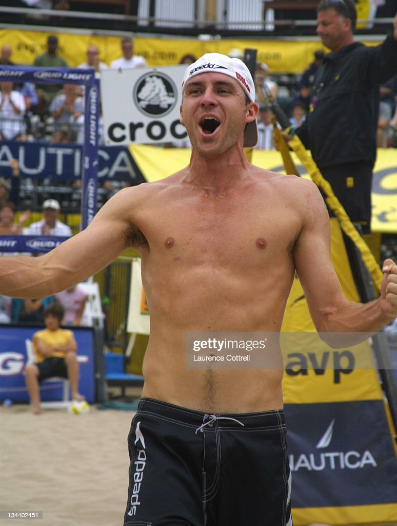 Jake Gibb shouts for joy at the Hermosa Beach open