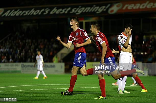 Jake Goodman of Aldershot Town celebrates scoring during the Skrill Conference Premier match between Aldershot Town and Luton Town at Electrical...