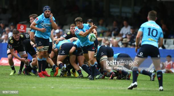 Jake Gordon of the Waratahs during the Super Rugby match between Cell C Sharks and Waratahs at Kings Park on March 03 2018 in Durban South Africa
