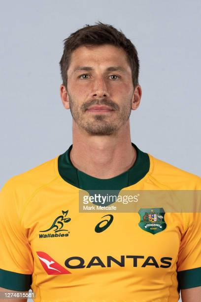 Jake Gordon poses during the Australian Wallabies rugby team headshots session at the Crowne Plaza on September 21 2020 in the Hunter Valley Australia