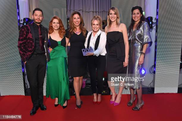 Jake Graf Victoria Broom Michelle Hardwick and Hannah Winterbourne with the award for 'Best Storyline' at the Diva Awards 2019 at The Waldorf Hilton...