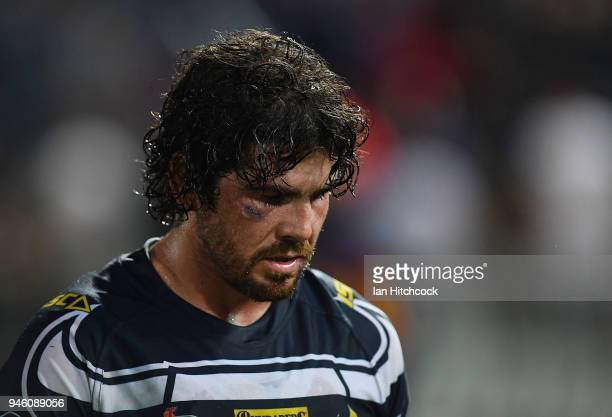 Jake Granville of the Cowboys looks dejected after losing the round six NRL match between the North Queensland Cowboys and the Canterbury Bulldogs at...
