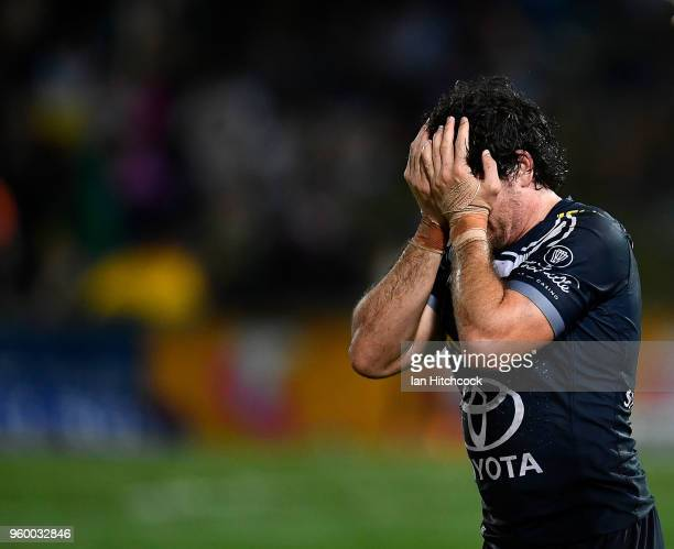 Jake Granville of the Cowboys looks dejected after losing the round 11 NRL match between the North Queensland Cowboys and the South Sydney Rabbitohs...