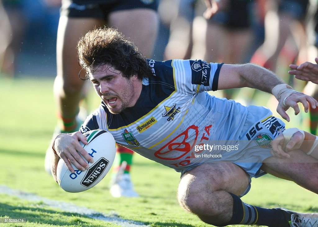 Jake Granville of the Cowboys scores a try during the round 19 NRL match between the South Sydney Rabbitohs and the North Queensland Cowboys at Barlow Park on July 16, 2017 in Cairns, Australia.