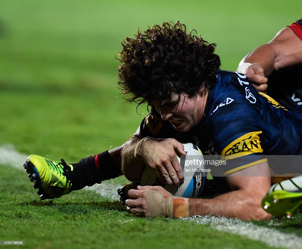 Jake Granville of the Cowboys scores the winning the try during the round seven NRL match between the North Queensland Cowboys and the New Zealand Warriors at 1300SMILES Stadium on April 18, 2015 in Townsville, Australia.