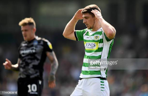 Jake Gray of Yeovil Town reacts to missing a chance during the Sky Bet League Two match between Yeovil Town and Colchester United at Huish Park on...