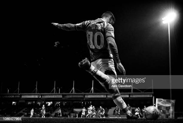 Jake Gray of Yeovil town takes a corner during the Sky Bet League Two match between Yeovil Town and Lincoln City at Huish Park on January 22 2019 in...