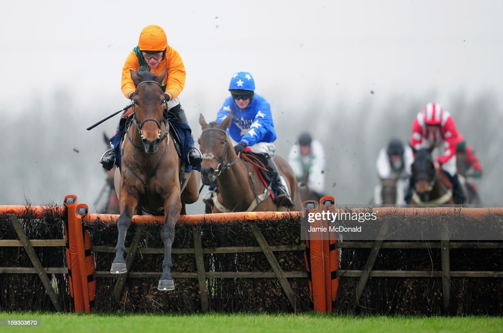 Jake Greenhall rides Winds and Waves over the last to win the Connoll's Red Mills Horse Feeds Conditional Jockeys Handicap hurd on January 11, 2013 in Huntingdon, England.