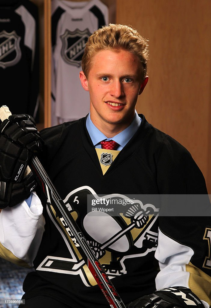 Jake Guentzel, 77th pick overall by the Pittsburgh Penguins, poses for a portrait during the 2013 NHL Draft at Prudential Center on June 30, 2013 in Newark, New Jersey.