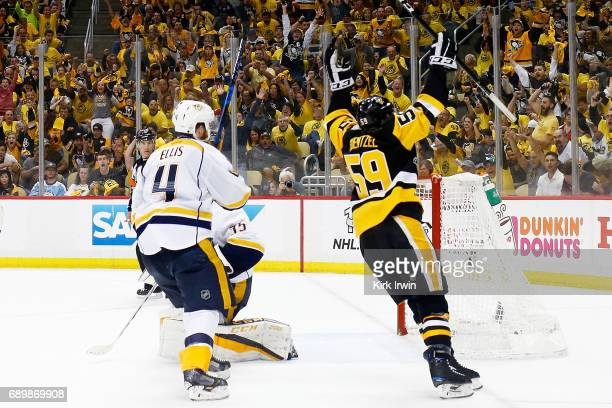 Jake Guentzel of the Pittsburgh Penguins celebrates his goal during the third period against the Nashville Predators in Game One of the 2017 NHL...