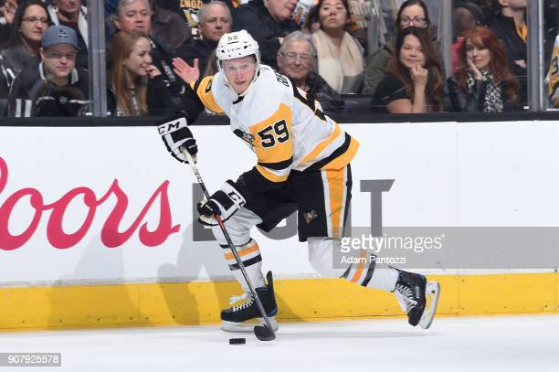 Jake Guentzel of the Pittsburgh Penguins handles the puck during a game against the Los Angeles Kings at STAPLES Center on January 18 2018 in Los...