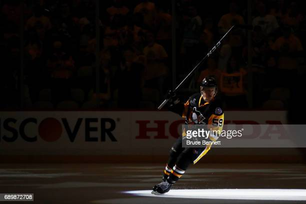 Jake Guentzel of the Pittsburgh Penguins is announced as one of the stars of the game after the Pittsburgh Penguins defeated the Nashville Predators...