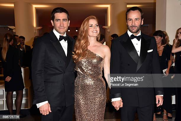 Jake Gyllenhaal, Amy Adams and Tom Ford attend the premiere of 'Nocturnal Animals' during the 73rd Venice Film Festival at Sala Grande on September...