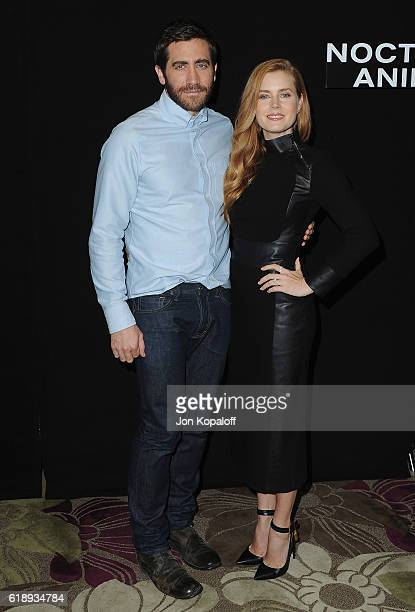 """Jake Gyllenhaal and Amy Adams attend the Photo Call For Focus Features' """"Nocturnal Animals"""" at Four Seasons Hotel Los Angeles at Beverly Hills on..."""
