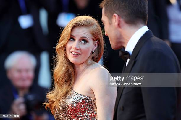 Jake Gyllenhaal and Amy Adams attend the premiere of 'Nocturnal Animals' during the 73rd Venice Film Festival at Sala Grande on September 2 2016 in...