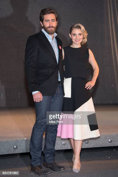 Jake Gyllenhaal and Annaleigh Ashford attend the 'Sunday In The Park With George' Cast Photo Call at Hudson Theatre on February 8 2017 in New York...