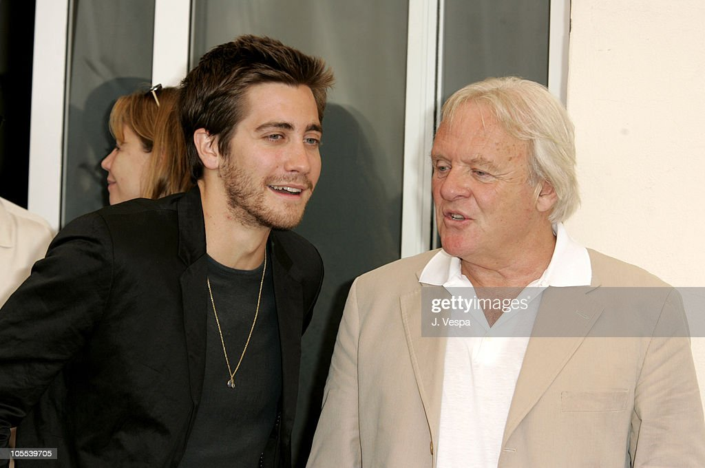 Jake Gyllenhaal and Anthony Hopkins during 2005 Venice Film Festival - 'Proof' Photocall at Casino Palace in Venice Lido, Italy.