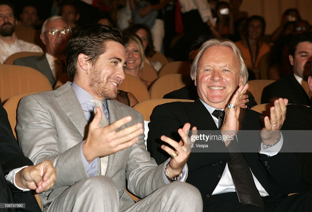 Jake Gyllenhaal and Anthony Hopkins during 2005 Venice Film Festival - 'Proof' Premiere - Inside at Palazzo del Cinema in Venice Lido, Italy.