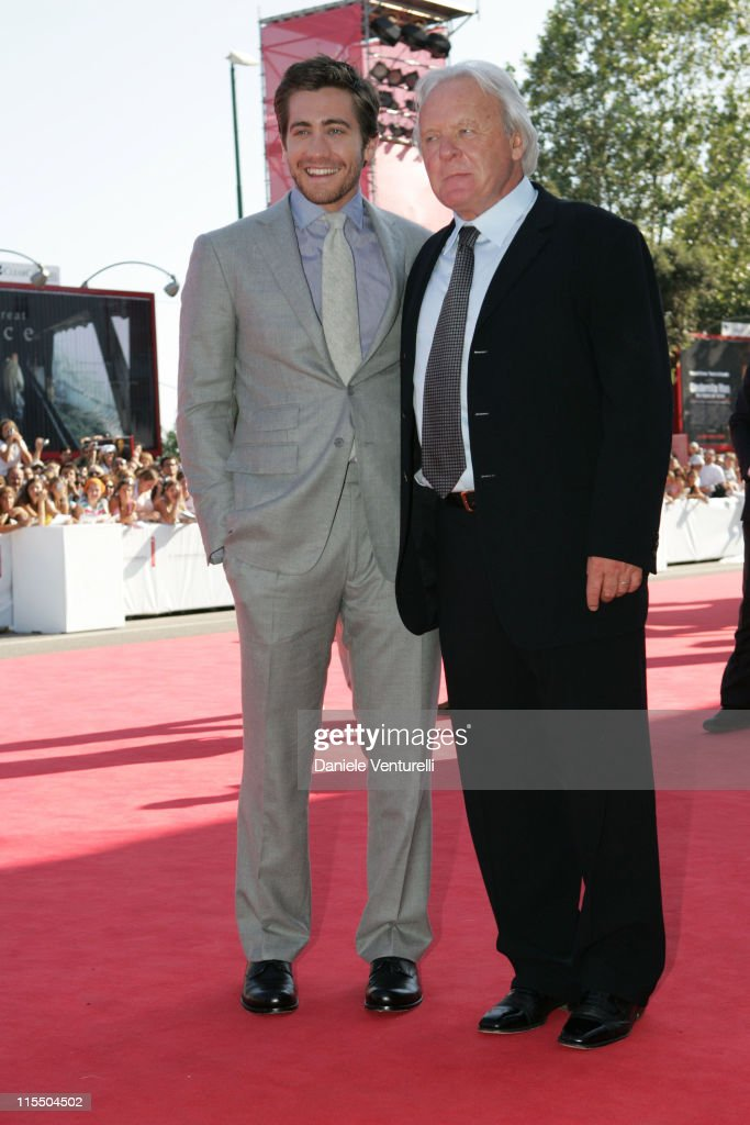 Jake Gyllenhaal and Anthony Hopkins during 2005 Venice Film Festival - 'Proof' Premiere at Venice Lido in Venice, Italy.