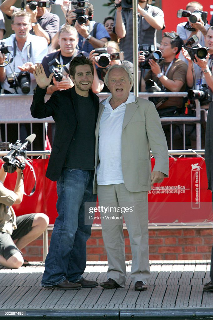 Jake Gyllenhaal and Anthony Hopkins during 2005 Venice Film Festival - 'Proof' Photocall - Arrivals at The Westin Excelsior in Venice Lido, Italy.