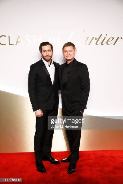 Jake Gyllenhaal and Cartier CEO Cyrille Vigneron attend the 'Clash De Cartier' Launch Photocall At La Conciergerie In Paris on April 10 2019 in Paris...