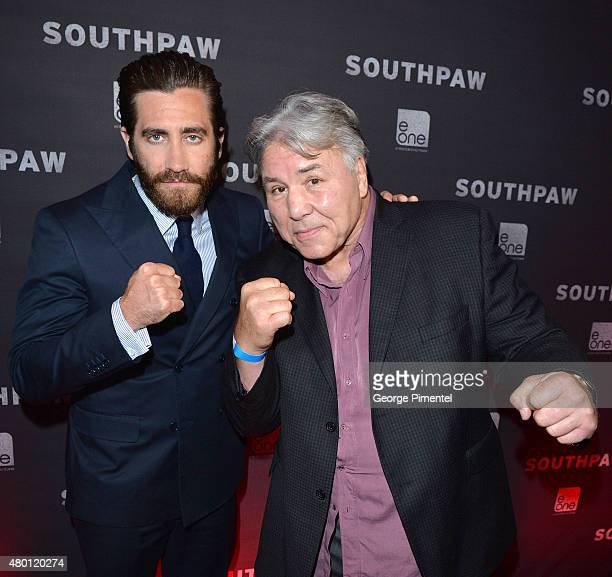 Jake Gyllenhaal and George Chuvalo attend the Canadian Premiere of 'Southpaw' at Scotiabank Theatre on July 9 2015 in Toronto Canada