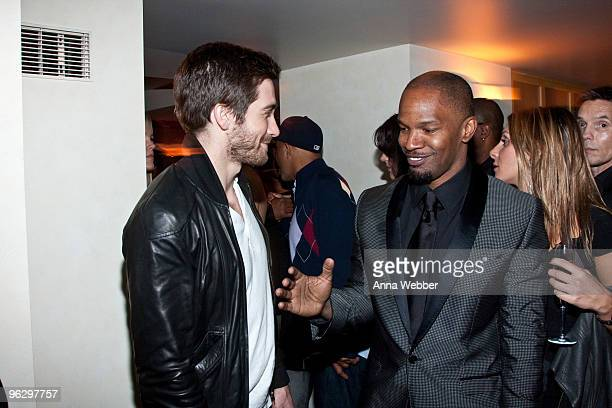 Jake Gyllenhaal and Jamie Foxx attend L'Ermitage on January 29 2010 in Los Angeles California