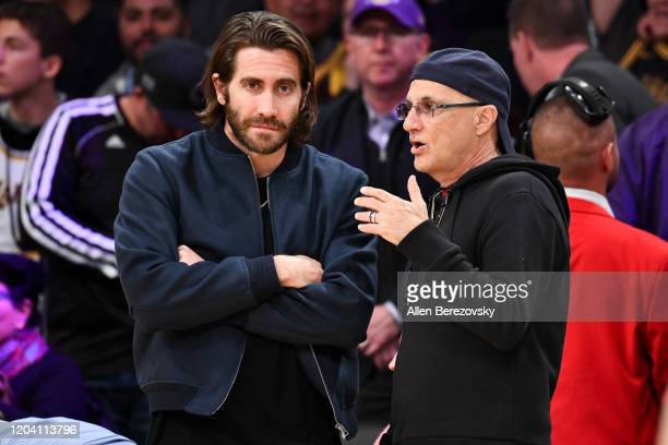 Jake Gyllenhaal and Jimmy Iovine attend a basketball game between the Los Angeles Lakers and the San Antonio Spurs at Staples Center on February 04,...