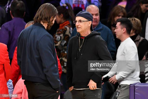 Jake Gyllenhaal and Jimmy Iovine attend a basketball game between the Los Angeles Lakers and the San Antonio Spurs at Staples Center on February 04...