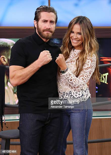 Jake Gyllenhaal and Karla Martinez are seen on the set of 'Despierta America' to promote his film 'Southpaw' at Univision Studios on July 17 2015 in...