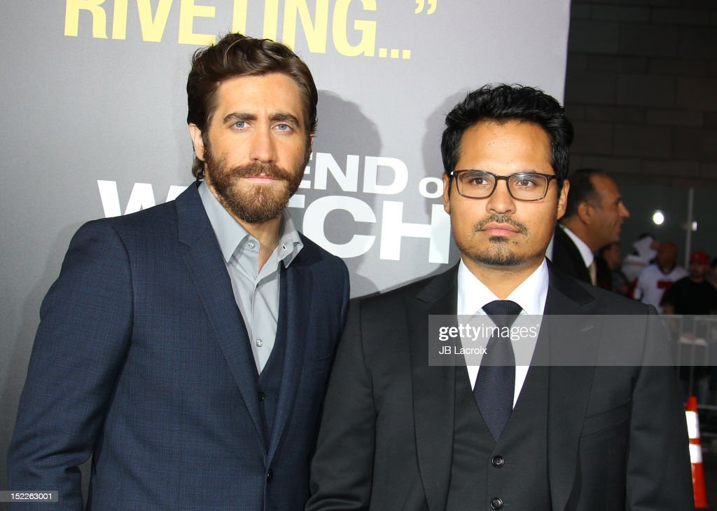 Jake Gyllenhaal and Michael Pena attend the 'End Of Watch' Los Angeles premiere at Regal Cinemas L.A. Live on September 17, 2012 in Los Angeles, California.