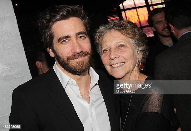 Jake Gyllenhaal and mother Naomi Foner Gyllenhaal pose at the Constellations Broadway Opening Night After Party at Urbo NYC on January 13 2015 in New...