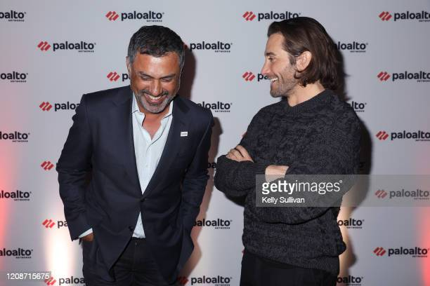 Jake Gyllenhaal and Palo Alto Networks CEO Nikesh Arora discuss the role cybersecurity plays in Hollywood today at the Virgin Hotels on February 25...