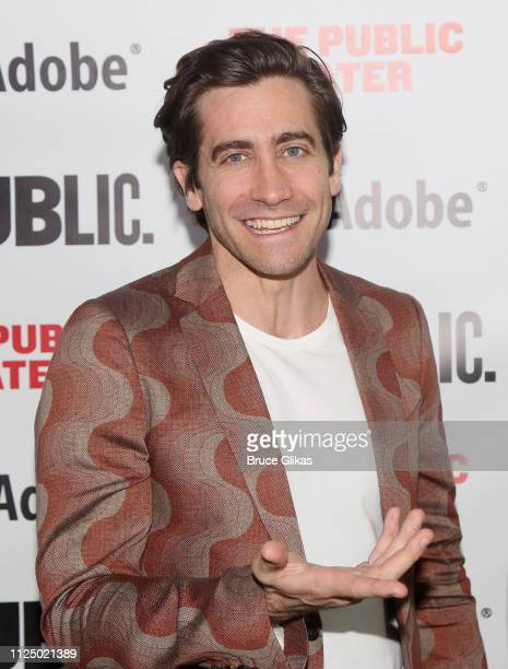 "Jake Gyllenhaal and Playwright Nick Payne pose at the opening night after party for ""Sea Wall/A Life"" at The Public Theater on February 14, 2019 in..."