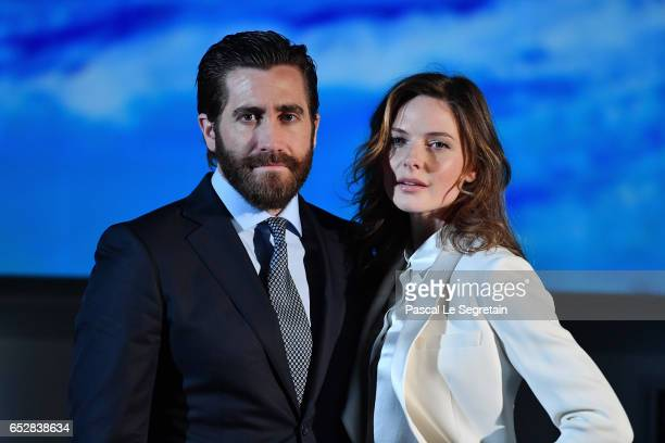 Jake Gyllenhaal and Rebecca Ferguson attend Life Photo Call on March 13 2017 in Paris France