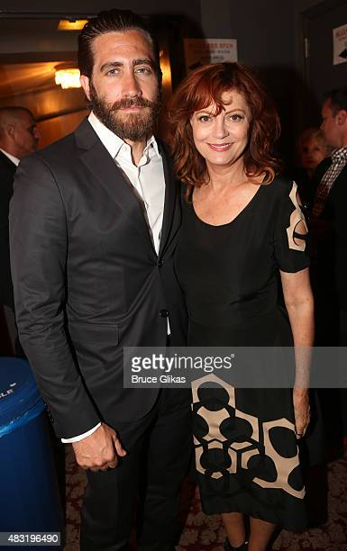 Jake Gyllenhaal and Susan Sarandon attend the after party for 'Hamilton' Broadway opening night at Pier 60 on August 6 2015 in New York City