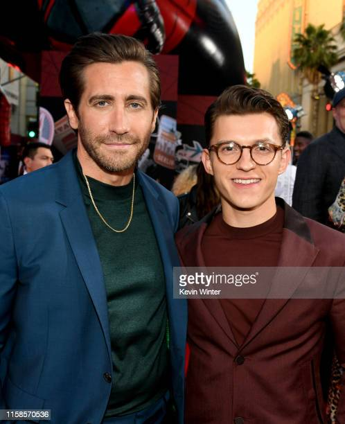 Jake Gyllenhaal and Tom Holland arrive at the premiere of Sony Pictures' SpiderMan Far From Home at TCL Chinese Theatre on June 26 2019 in Hollywood...