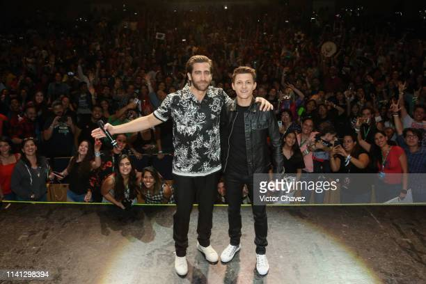 "Jake Gyllenhaal and Tom Holland attend Conque 2019 to present the new film ""Spider-Man: Far From Home"" at Centro de Congresos on May 4, 2019 in..."