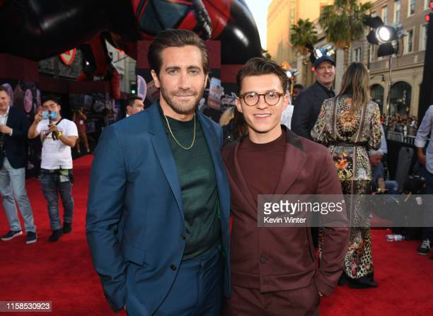 "Jake Gyllenhaal and Tom Holland attend the premiere of Sony Pictures' ""Spider-Man Far From Home"" at TCL Chinese Theatre on June 26, 2019 in..."