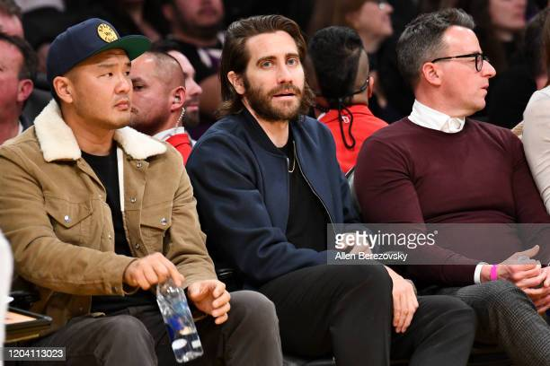 Jake Gyllenhaal attends a basketball game between the Los Angeles Lakers and the San Antonio Spurs at Staples Center on February 04 2020 in Los...