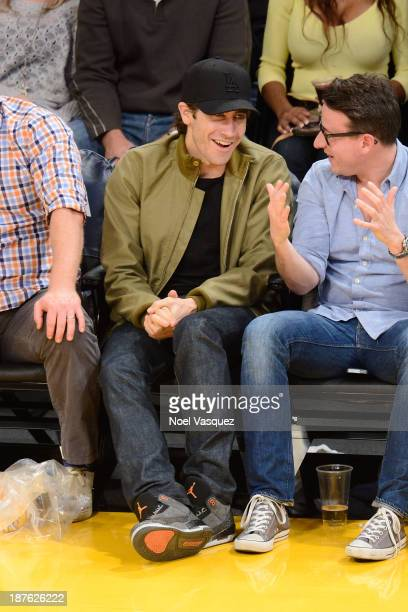 Jake Gyllenhaal attends a basketball game between the Minnesota Timberwolves and the Los Angeles Lakers at Staples Center on November 10 2013 in Los...