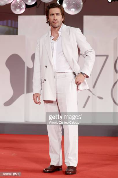 """Jake Gyllenhaal attends the red carpet of the movie """"The Lost Daughter"""" during the 78th Venice International Film Festival on September 03, 2021 in..."""