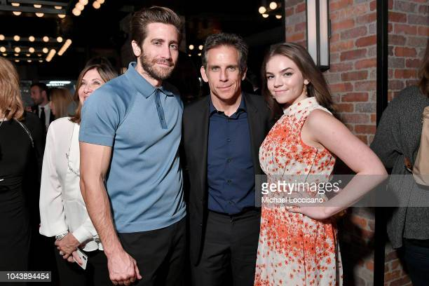 Jake Gyllenhaal Ben Stiller and daughter Ella Olivia Stiller attend the after party for Wildlife during the 56th New York Film Festival at The Ribbon...