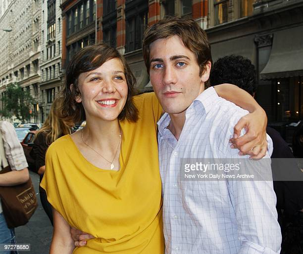 Jake Gyllenhaal gets a hug from his sister actress Maggie Gyllenhaal at the premiere of the movie 'Lovely Amazing' at the Loews 19th St East He's in...