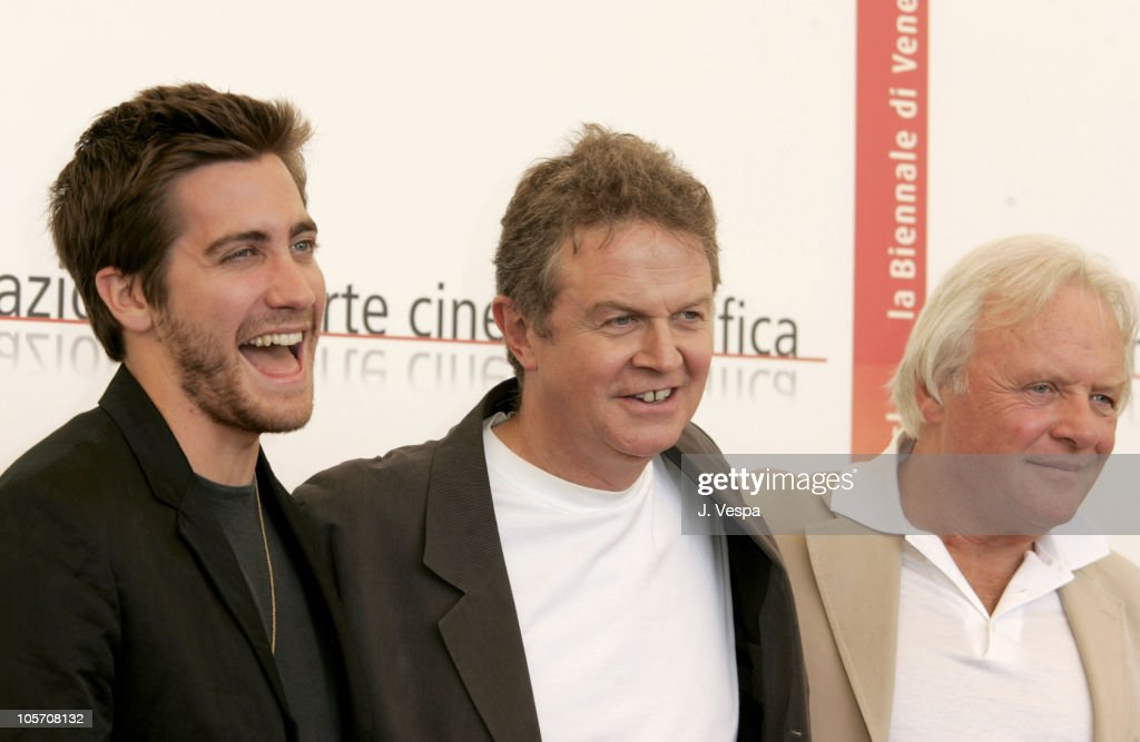Jake Gyllenhaal, John Madden and Anthony Hopkins during 2005 Venice Film Festival - 'Proof' Photocall at Casino Palace in Venice Lido, Italy.