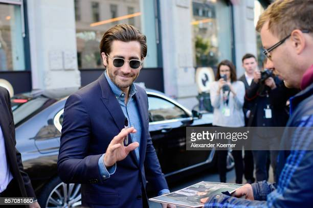 Jake Gyllenhaal leaves the 'Stronger' press conference during the 13th Zurich Film Festival on October 3 2017 in Zurich Switzerland The Zurich Film...