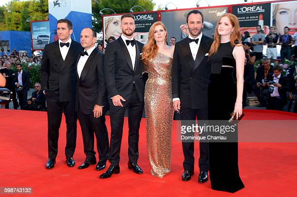Jake Gyllenhaal Robert Salerno Aaron Taylor Johnson Amy Adams Tom Ford and Ellie Bamber attend the premiere of 'Nocturnal Animals' during the 73rd...