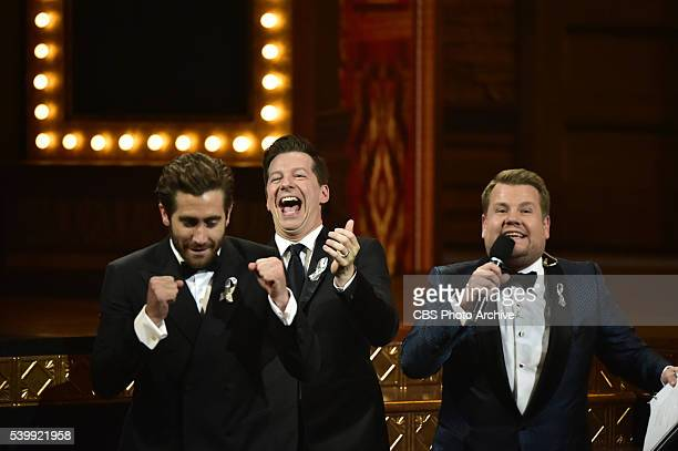 Jake Gyllenhaal Sean Hayes and James Corden at THE 70TH ANNUAL TONY AWARDS live from the Beacon Theatre in New York City Sunday June 12 on the CBS...